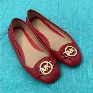 Michael Kors red leather flats size 8m